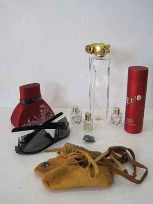 Small Lot Of Misc Lollia Eave De Perfume Partials, Reve Shower Gel And Enzo  Ferruccio Perfume, Under Armour Sunglasses, Givenchy Bottle Empty, Leather