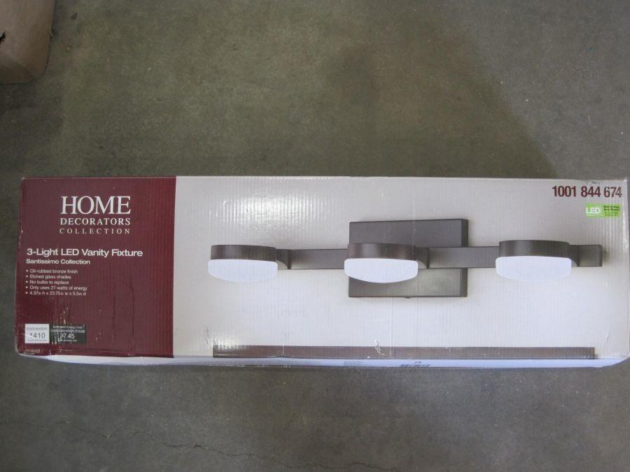 Home Decorators Collection 3 Light Led Vanity Fixture Oil Rubbed Bronze Finish 4 37x23 75x5 5 Auction Auction Tucson