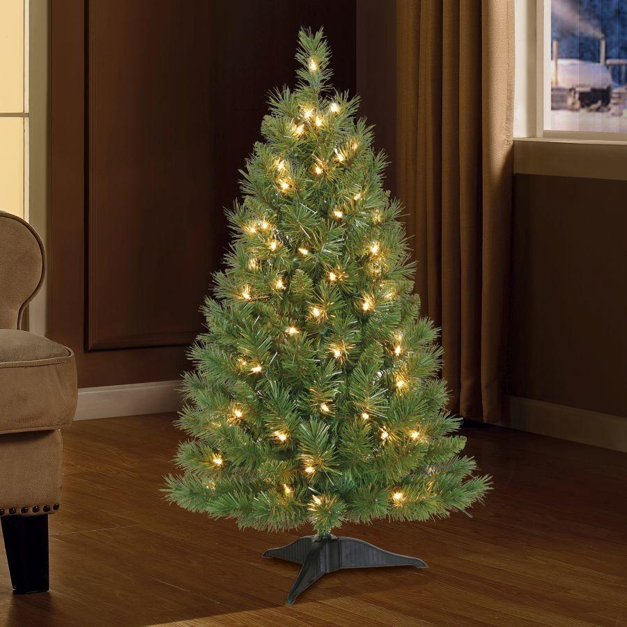 Holiday Time 3ft Prelit Winston Pine Artificial Christmas Tree With 70 White Lights Green