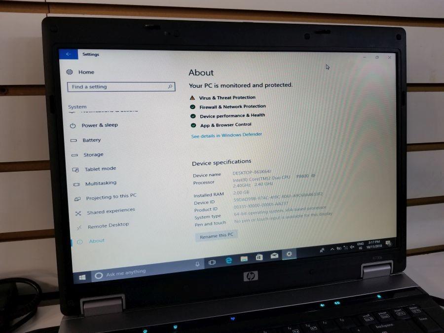 HP 8730 B Laptop Computer Intel Core 2 P8600 @ 2 4 GHz, 2 GB Ram, 160 GB  Hard Drive, Windows 10 Pro 64 Bit, No Battery