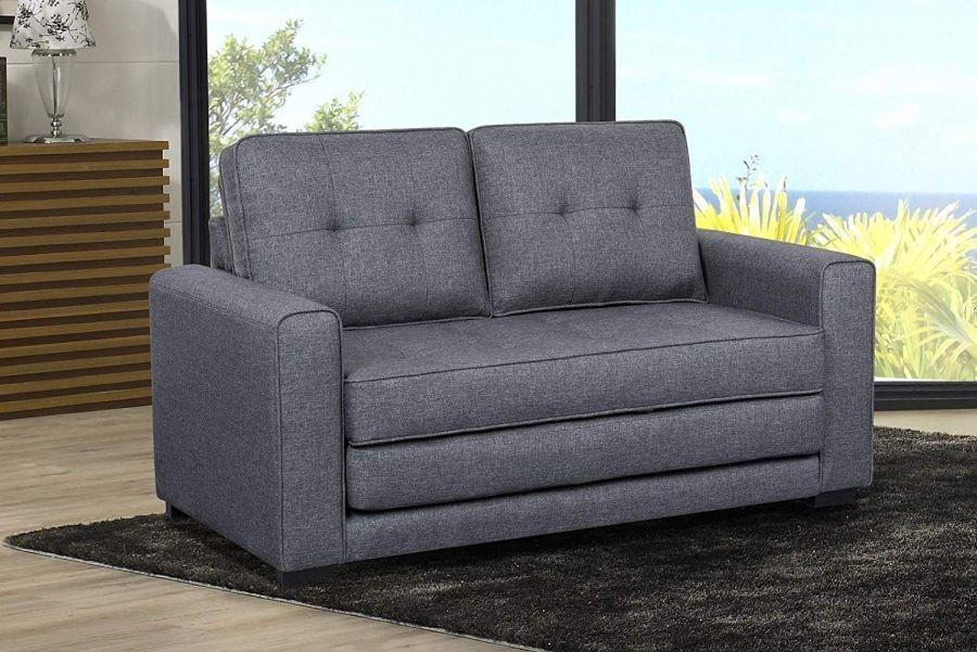 New Us Pride Furniture S5334 Daisy Modern Fabric Loveseat And Sofa Bed Dark Grey