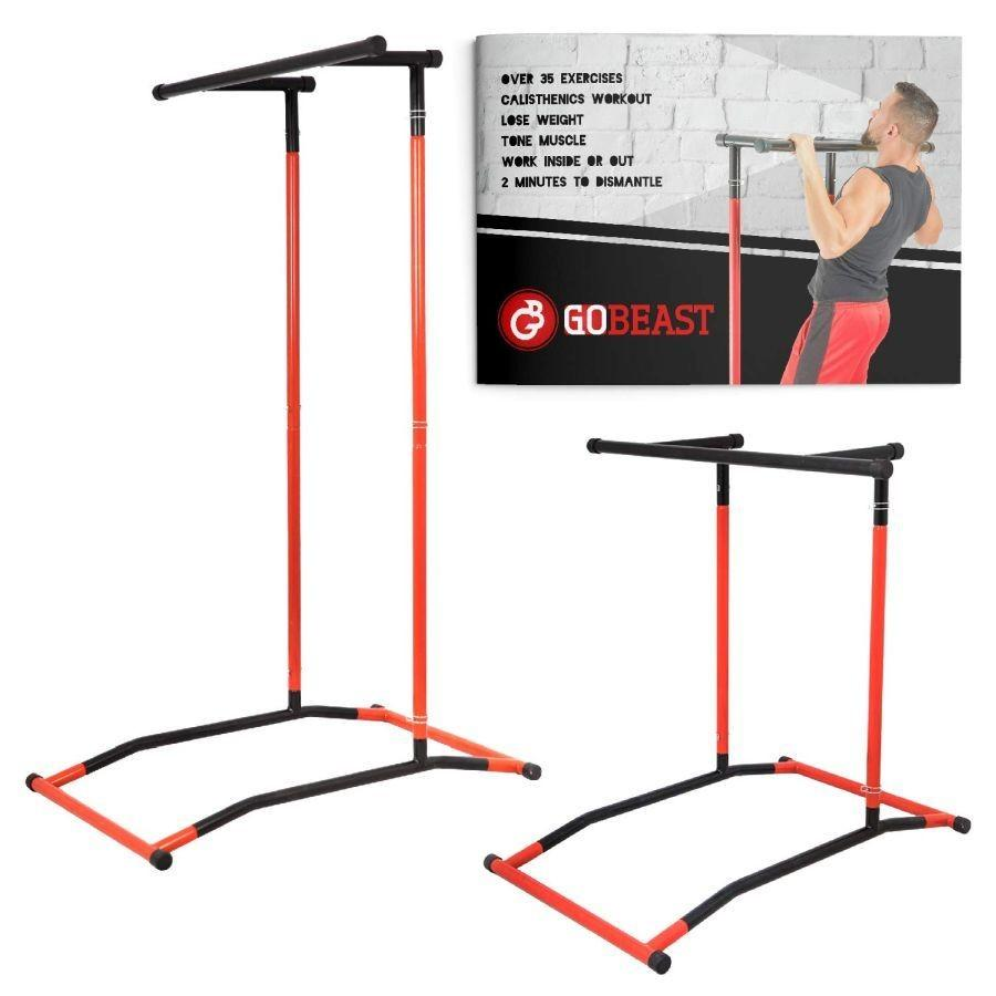 GoBeast Power Tower Pull up Bar Dip Stand Portable Pull up Station Movable  Exercise Equipment Instruction Manual and Storage Bag Max User weight 240